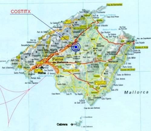 Map of Mallorca showing location of Cabrera.